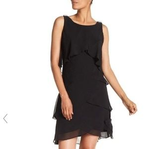 slny womens 14 tiered a-line dress black semi-form